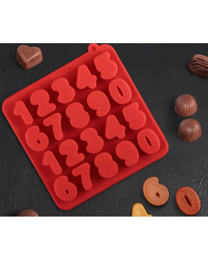 """форма за лед и шоколад """"Цифри"""" силиконова  *размер:16х16х2см *различни цветове"""